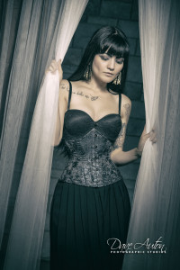 Modern metallic brocade tightlacing corset, with coutil, busk and steel boning, by Ivy Rose Designs