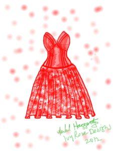 red dress sketch Ivy Rose Designs 2012